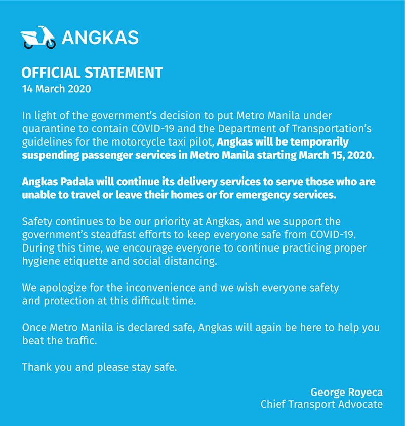 Angkas official statement