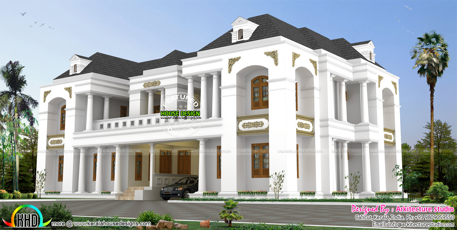 Luxury bungalow style colonial indian home design kerala for Plan of bungalow in india