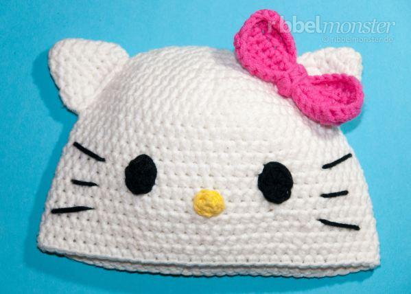 Häkelblog - Täglich neue Anleitungen: Hello Kitty Mütze - Häkelankeitung