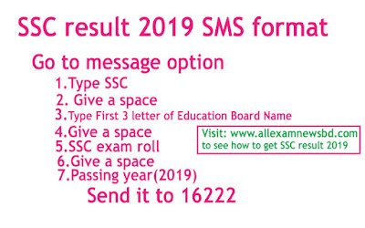SSC exam result by SMS 2019