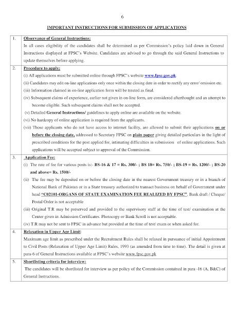 FPSC Jobs October 2020 Latest Apply Online