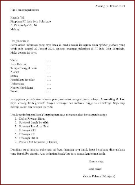 Contoh Application Letter Untuk Accounting & Tax (Fresh Graduate) Berdasarkan Informasi Dari Media Sosial