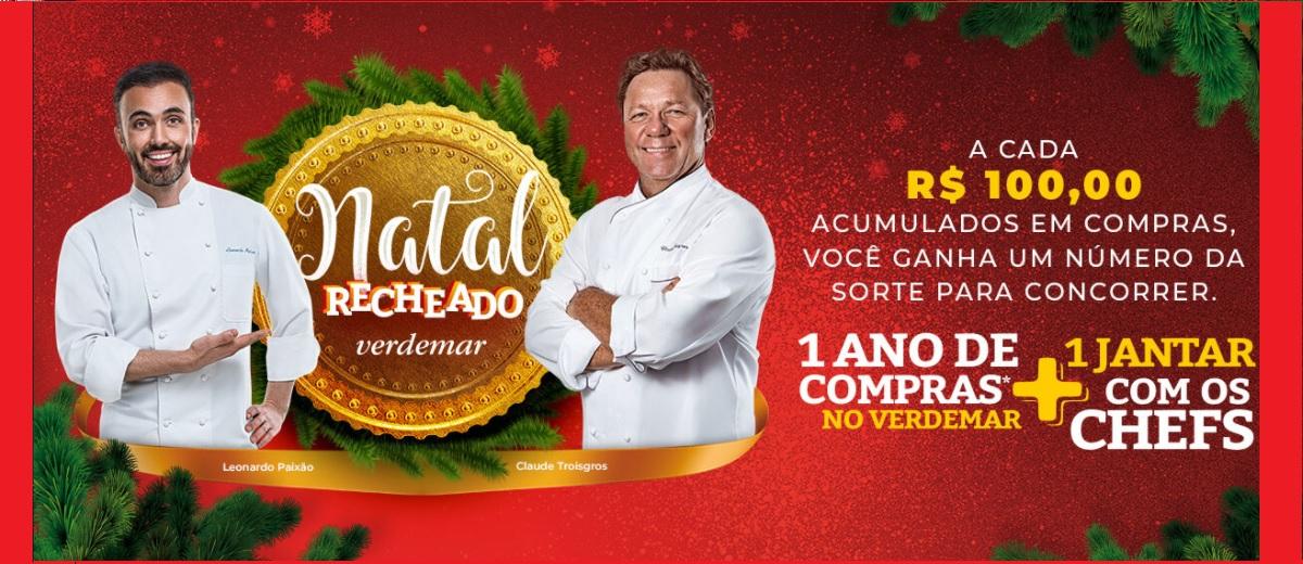 Promoção Verdemar Natal 2020 Recheado 1 Ano de Compras Grátis + Jantar com Chefs