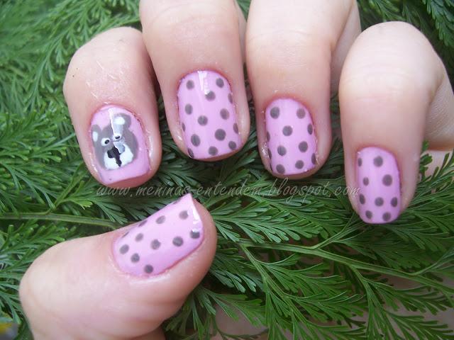 Unhas de Ursinho marrom e rosa