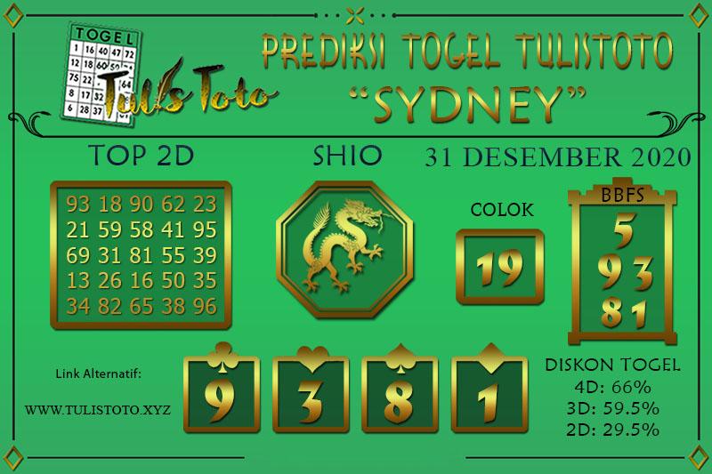 Prediksi Tulistoto Sydney Kamis 31 Desember 2020