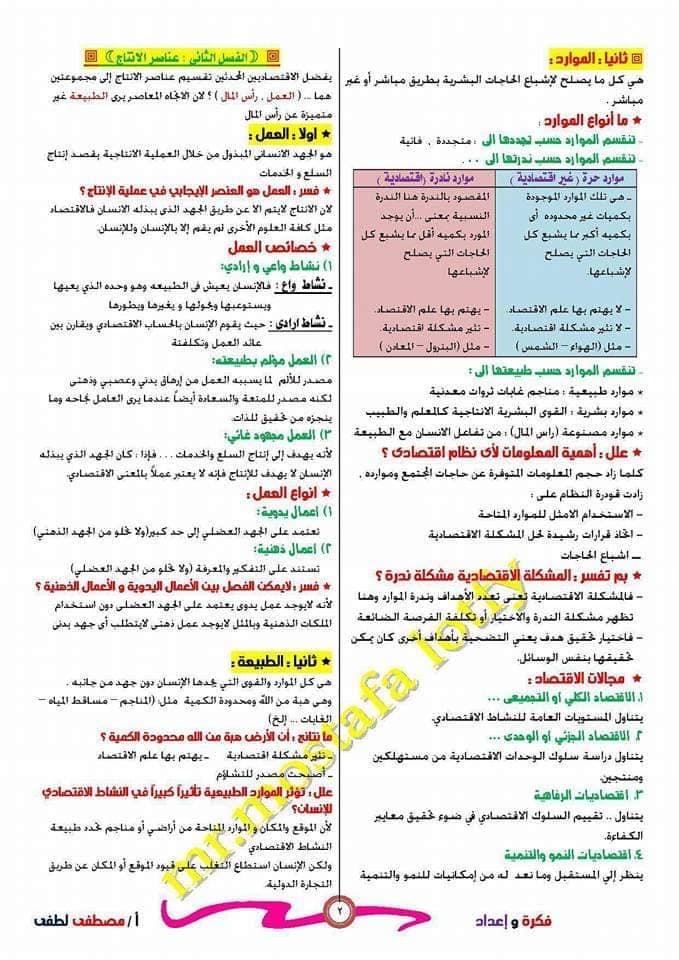 مراجعة الاقتصاد للصف الثالث الثانوي أ/ مصطفى لطفي 2