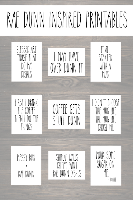 Free Rae Dunn inspired printables for craft projects and home decor.