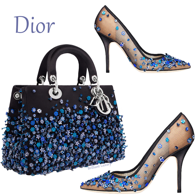 Blue flower embroidered Dior bag & pumps #brilliantluxury