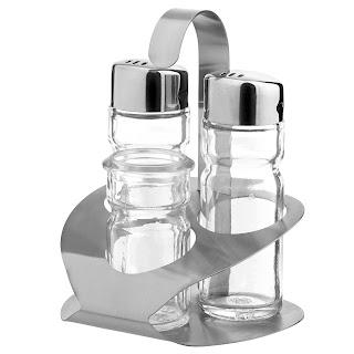 Set pentru condimente 3-bucati - sare, piper, suport pentru scobitori 90x90x(H)115 mm