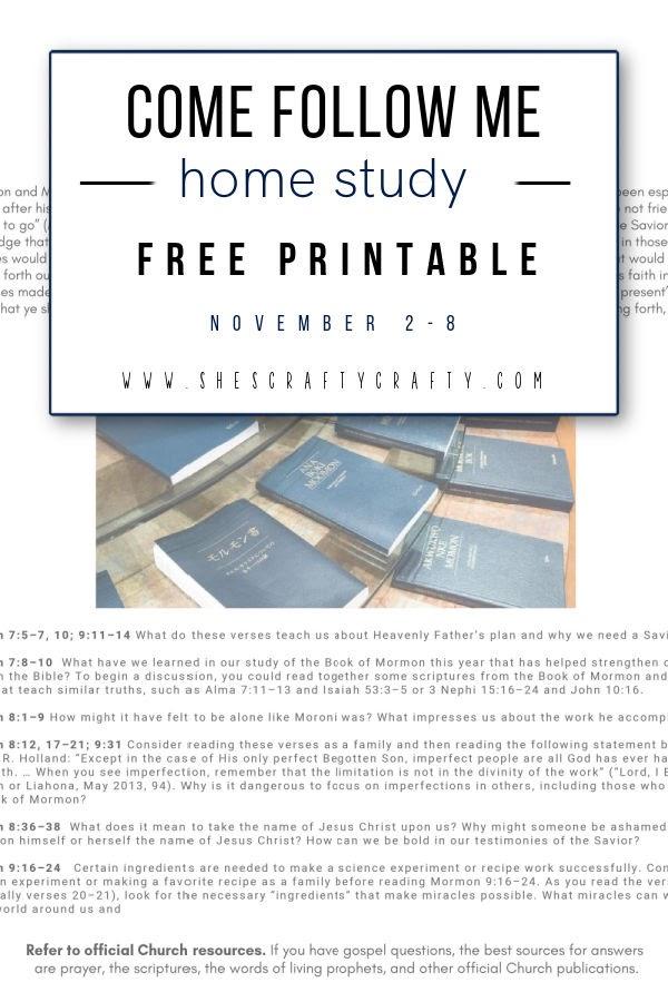 Come Follow Me Free Printable Nov 2-8     Mormon 7-9