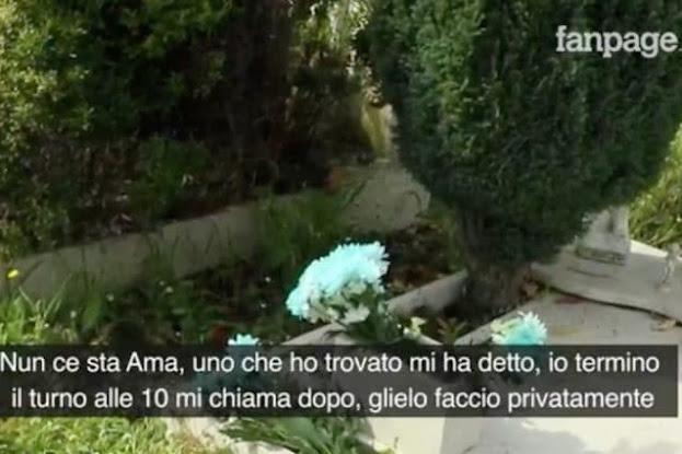 """Roma, cimitero Flaminio: """"Mi chiami dopo il turno, lo faccio privatamente"""", lavori fuori orario per sistemare le tombe"""