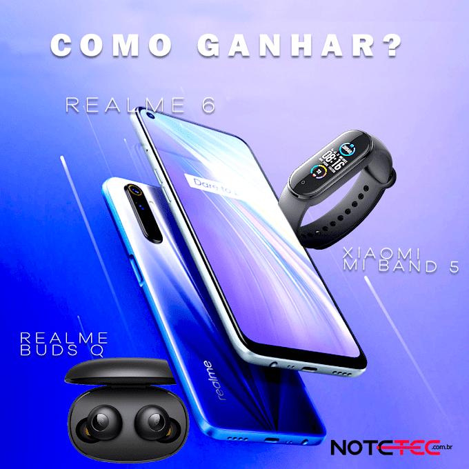 Sorteio de um Smartphone Realme 6 + Mi Band 5 e Realme G Buds Q