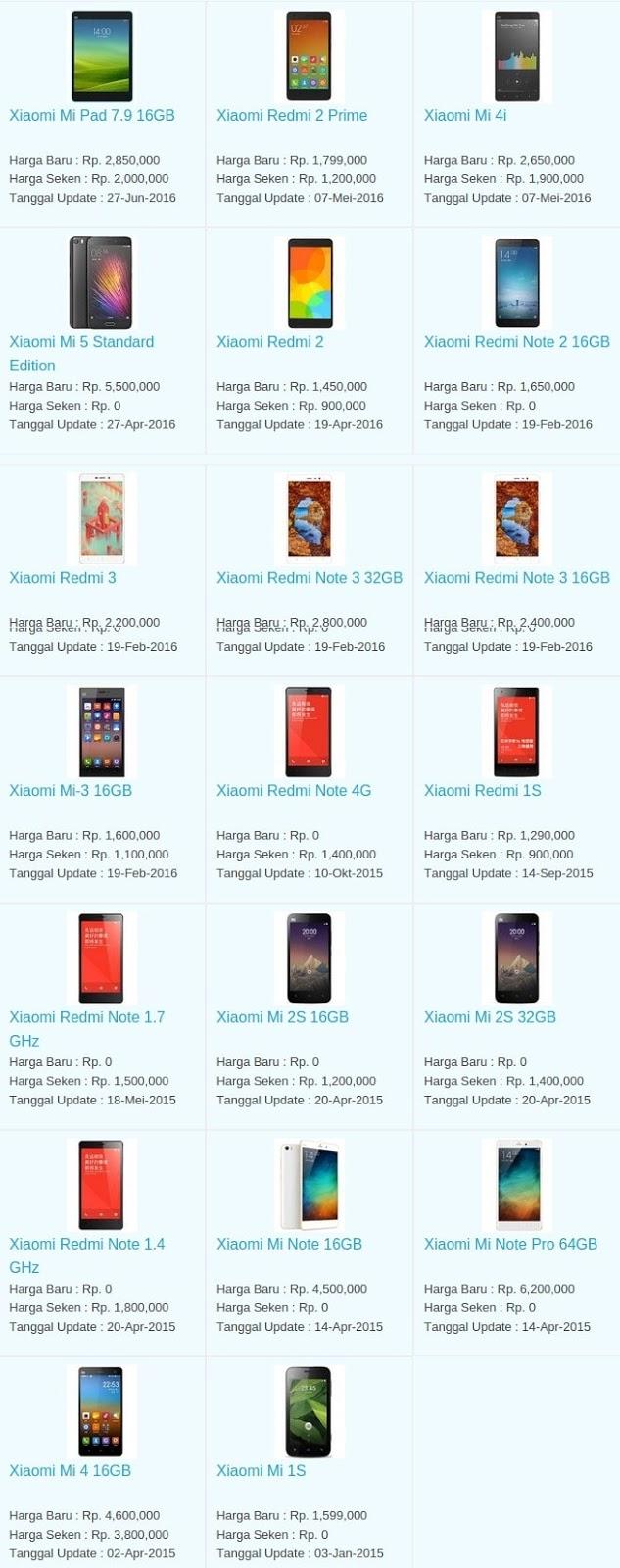 Daftar Harga Hp Terbaru Xiaomi Juli 2016