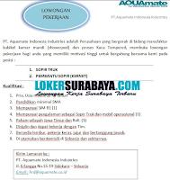 Loker Surabaya di PT. Aquamate Indonesia Industries Desember 2019