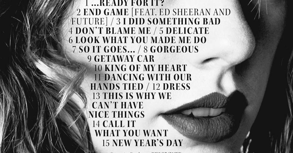 TAYLOR SWIFT RELEASES ... Taylor Swift Reputation Album
