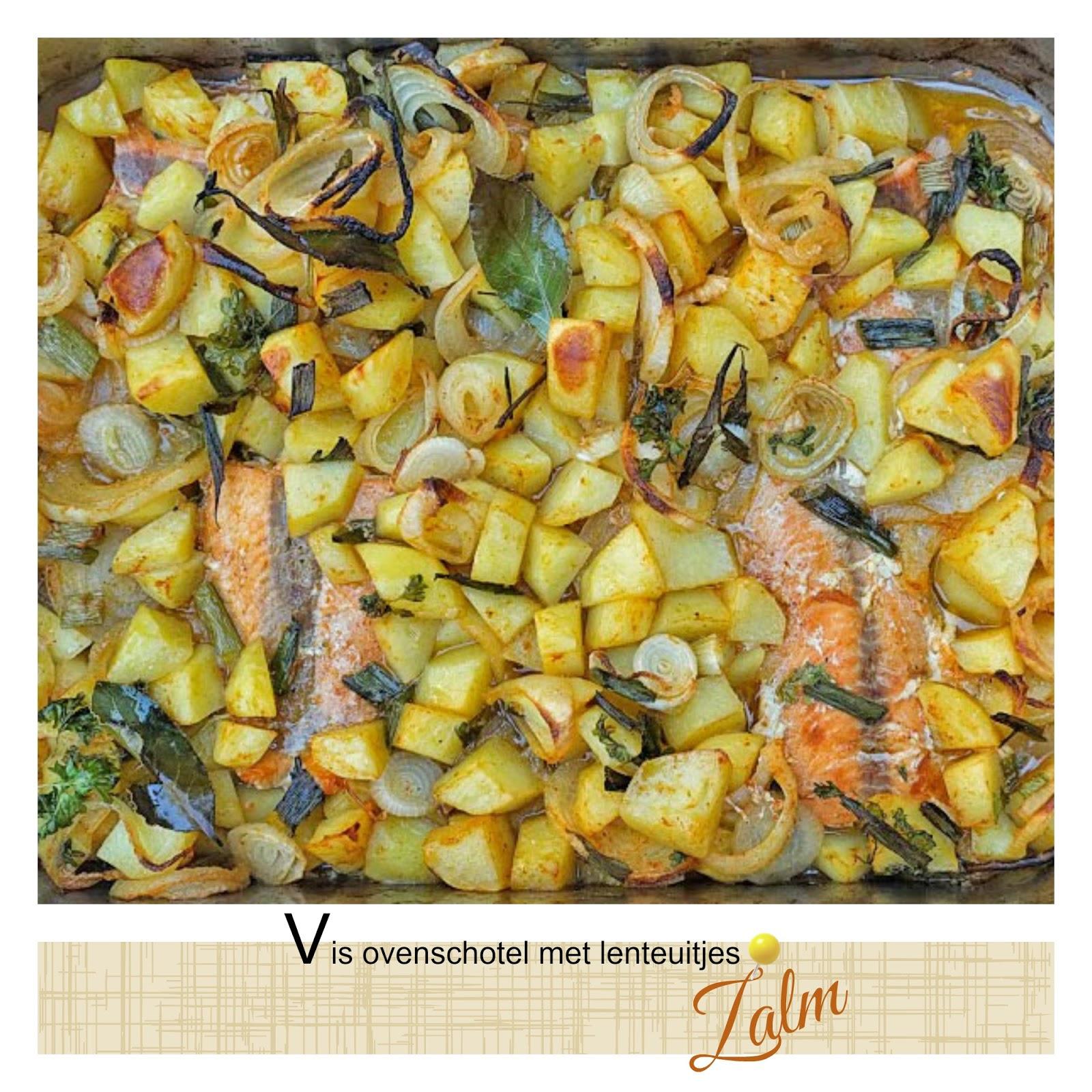 Vis ovenschotel met lente-uitjes en zalm