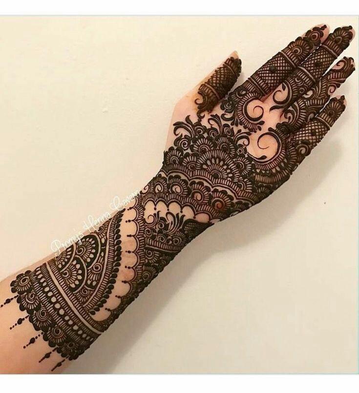 modern full hand mehndi design front