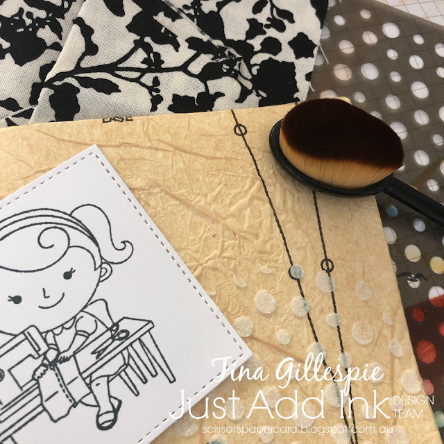 scissorspapercard, Stampin' Up!, Kindred Stamps, Just Add Ink, National Sewing Machine Day, Mixed Media Cards