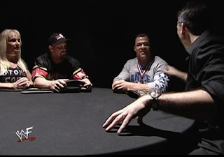 WWE / WWF Rebellion 2001 - Debra, Steve Austin, Kurt Angle, and Shane McMahon talk strategy