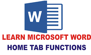 MS Word Home Tab Options Function