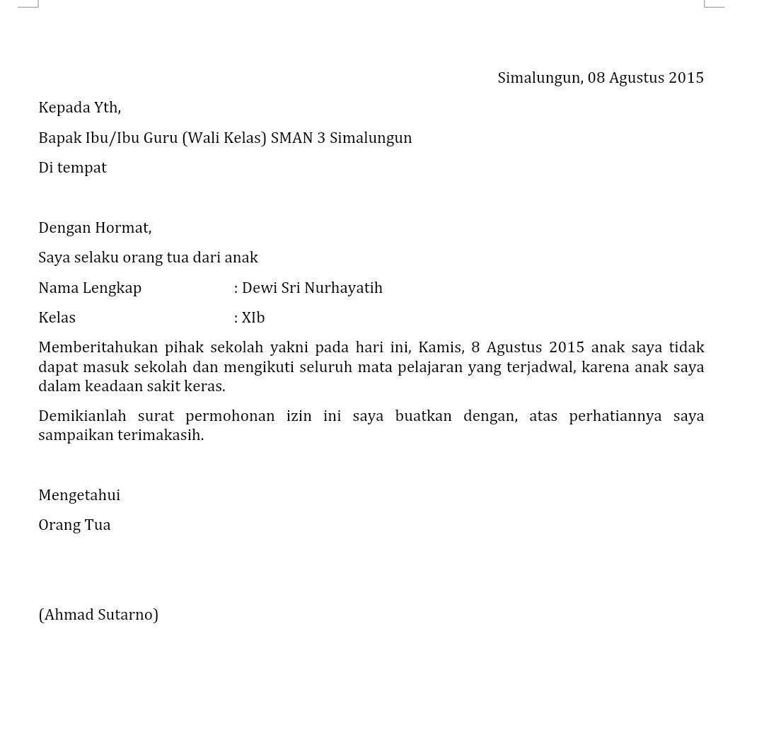 Contoh Surat Izin Sakit Sekolah Dalam Bahasa Inggris