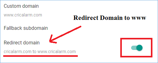 Redirect domain to www