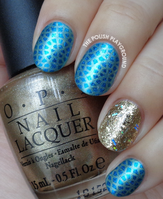 Blue with Subtle Yellow Circle Pattern Stamping Nail Art