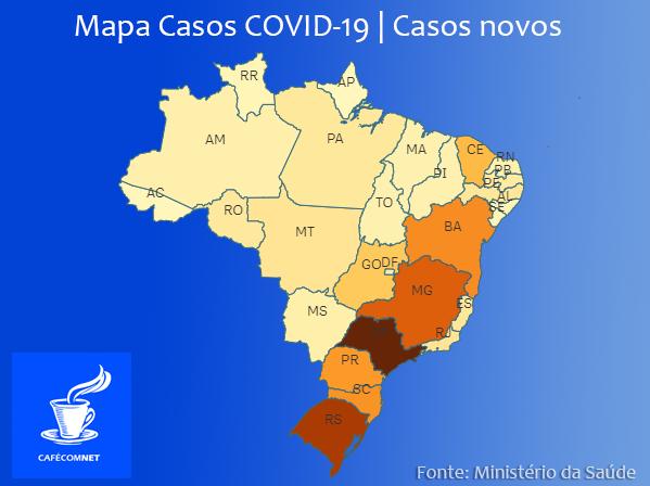Mapa de aumento/risco da covid-19 por novos casos. Fonte: Ministério da Saúde