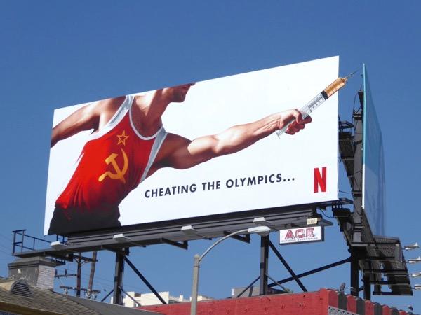 Icarus Russia Cheating Olympics syringe billboard