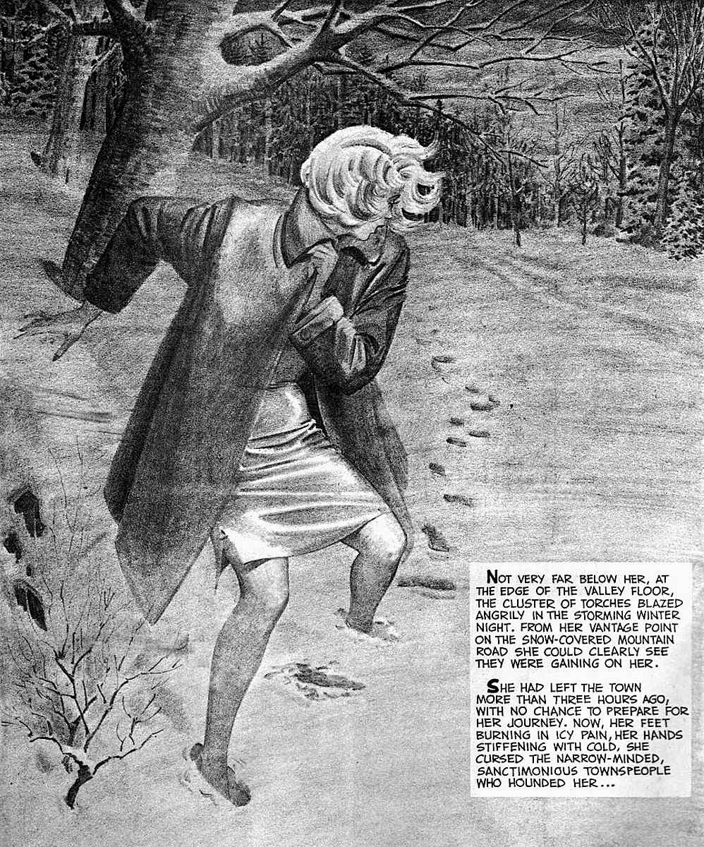 a 1960s Jay Taycee horror comic story panel for Creepy or Eerie, a woman fleeing angry townspeople