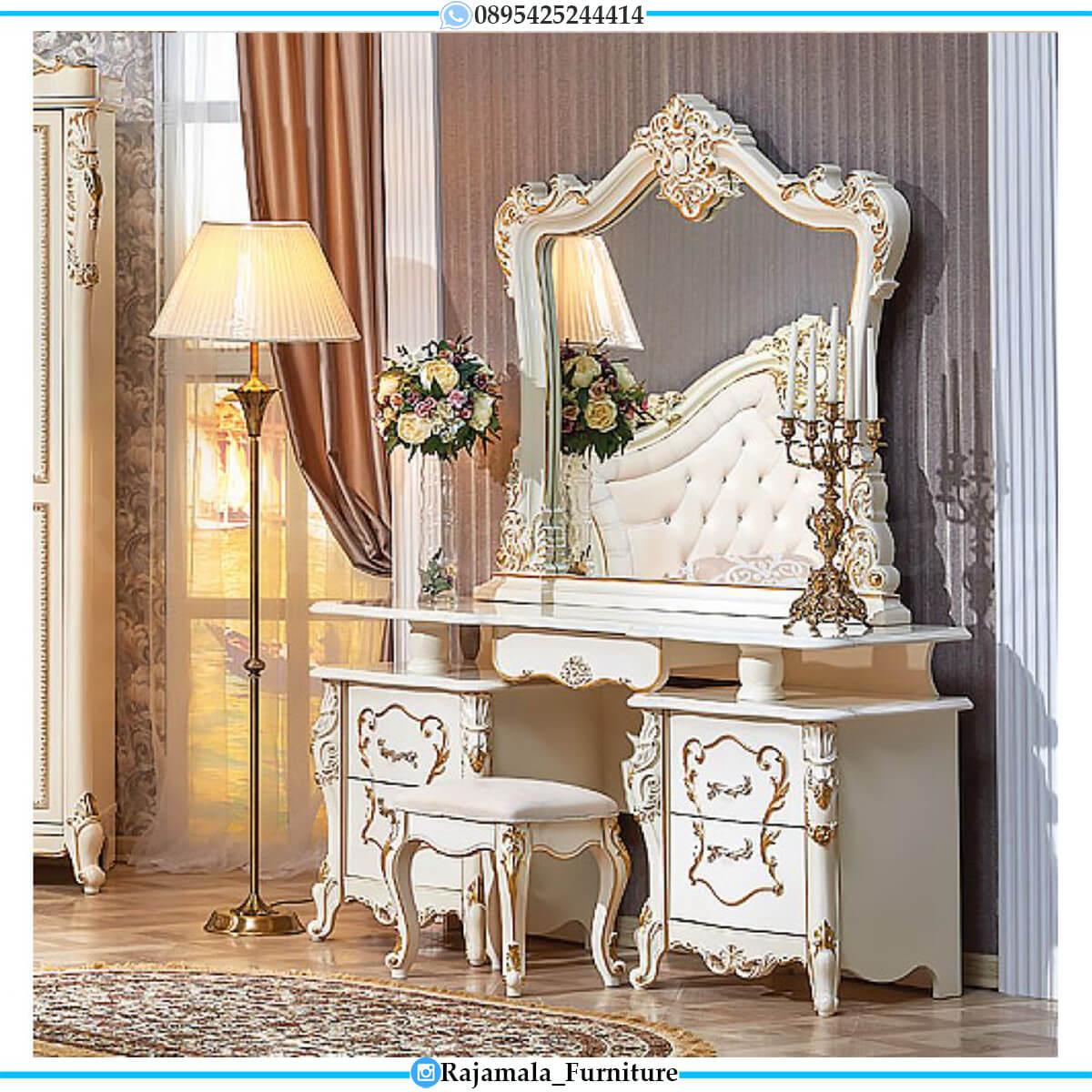Desain Meja Rias Mewah Putih Duco Classic Luxury Furniture Jepara RM-0582