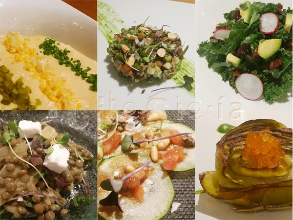ensaladilla rusa, ensalada de quinoa con chocolate, ensalada de kale, ensalada de lentejas, carpaccio de calabacin, alcachofa con huevas de trucha