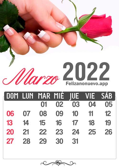 Calendario mes de marzo 2022 para imprimir