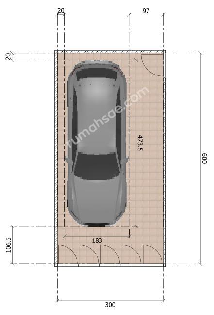 Ukuran Ideal Garasi di rumah Kapasitas 1 dan 2 Mobil