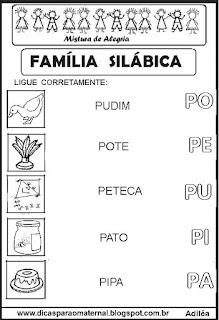 Famílias silábicas alfabetização letra P