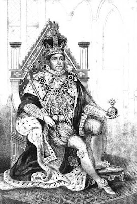 George IV in his coronation robes from An authentic history of the coronation of His Majesty, King George the Fourth   by Robert Huish (1821)