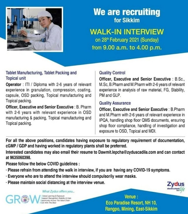 Zydus Cadila | Walk-in interview For Manufacturing/QC on 28th Feb 2021