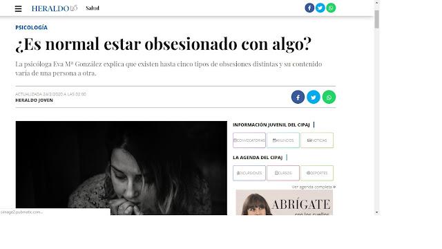 Artículo obsesiones de Psicólogos Sexólogos Zaragoza Eva María González