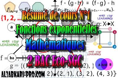 Résumé de cours N°1 Fonctions exponentielles,  Mathématiques, 2 Bac Sciences Économiques, 2 Bac Sciences de Gestion Comptable, Suites numériques, Limites et continuité, Dérivation et étude des fonctions, Fonctions logarithmiques, Fonctions exponentielles, Fonctions primitives et calcul intégral, Dénombrement et probabilités, Examens Nationaux Mathématiques, 2 bac, Examen National, baccalauréat, bac maroc, BAC, 2 éme Bac, Exercices, Cours, devoirs, examen nationaux, exercice, 2ème Baccalauréat, prof de soutien scolaire a domicile, cours gratuit, cours gratuit en ligne, cours particuliers, cours à domicile, soutien scolaire à domicile, les cours particuliers, cours de soutien, les cours de soutien, cours online, cour online.