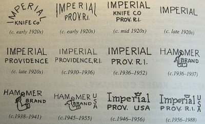 Years of production by logo for Imperial and Hammer Brand knives.