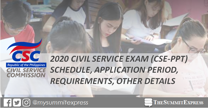 March 2020, August 2020 Civil Service Exam CSE-PPT schedule, application, requirements