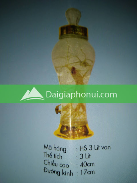 thông số bình ngâm rượu Phú Hoà mã số HS 3 LÍT VAN/VÒI