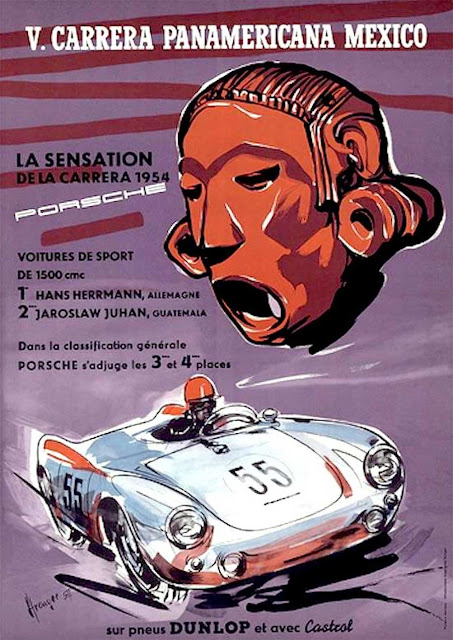 Porsche celebrating its victory at the Carrera Panamericana in 1954
