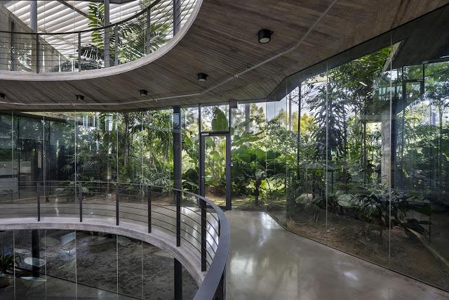 pasillos de oficinas en pisos superiores con jardines interiores