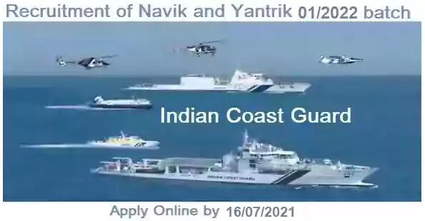 Coast-Guard Navik Yantrik Recruitment 1/2022 batch