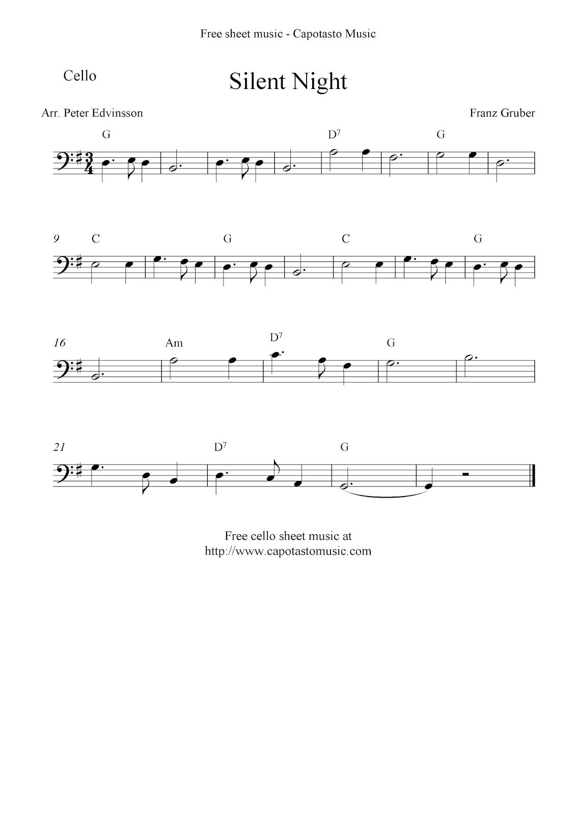 Silent Night, free Christmas cello sheet music
