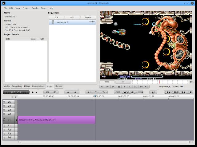 不要なシーンを切り取りました。キャプチャーしたゲーム動画をLinux Netrunner 17で編集