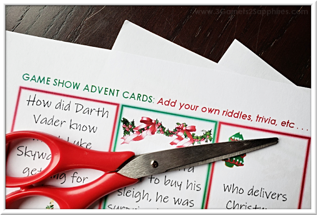 Free Printable Game Show Advent Calendar Activity  |  3 Garnets & 2 Sapphires