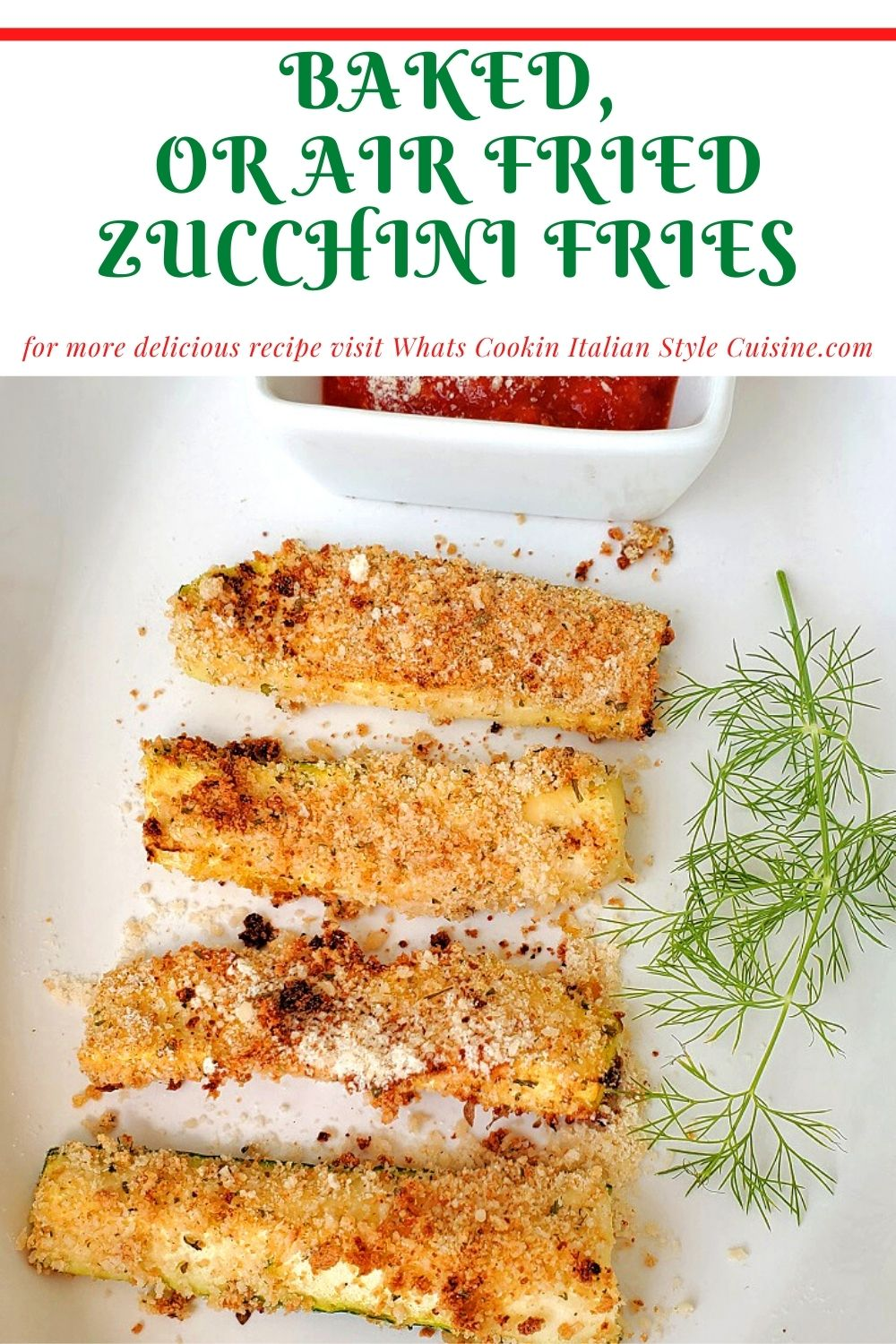 pin for later air fried zucchini with marinara sauce