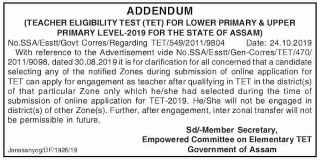 Assam TET 2019 Notification